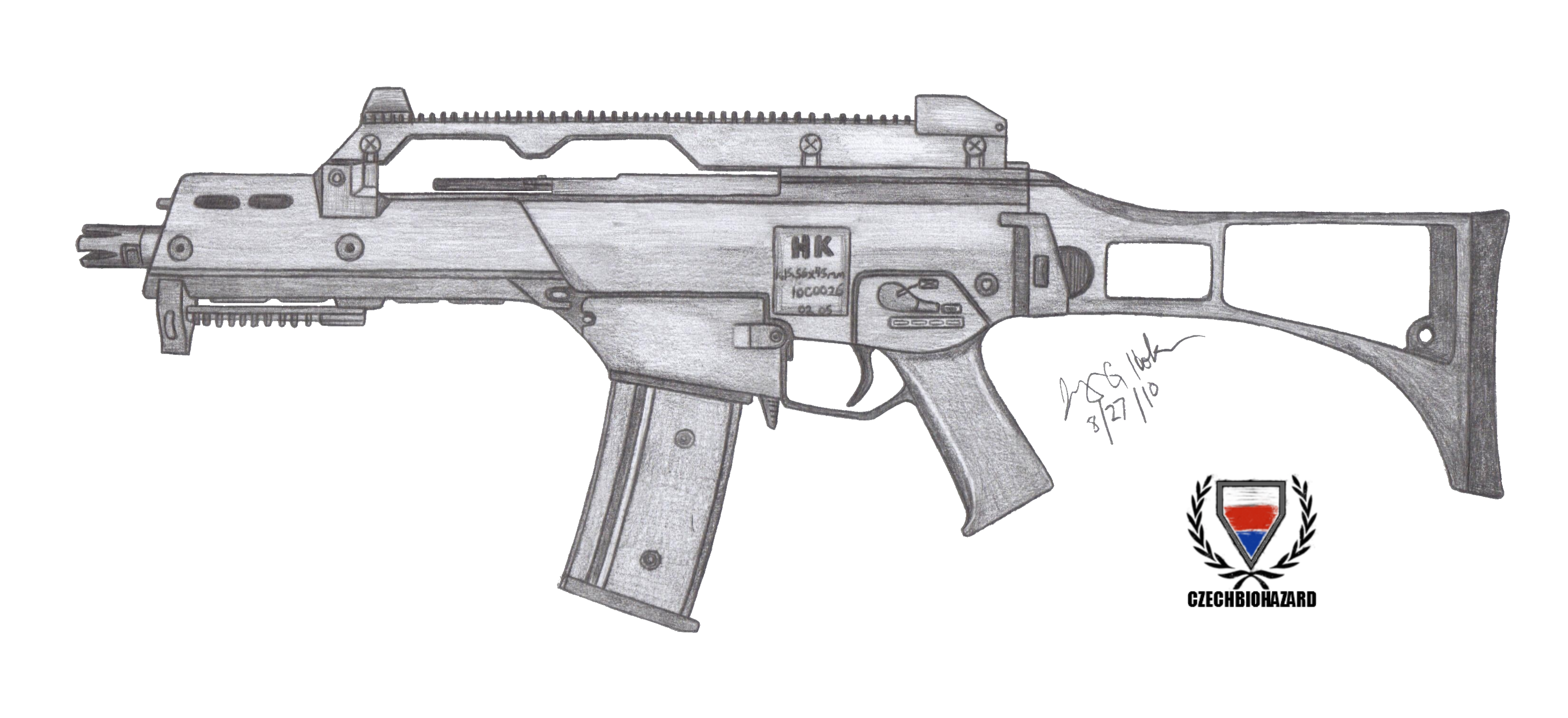 Weapon drawing realistic. Hk g c by