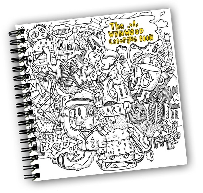 Artists drawing notebook. Wynwood coloring book krave