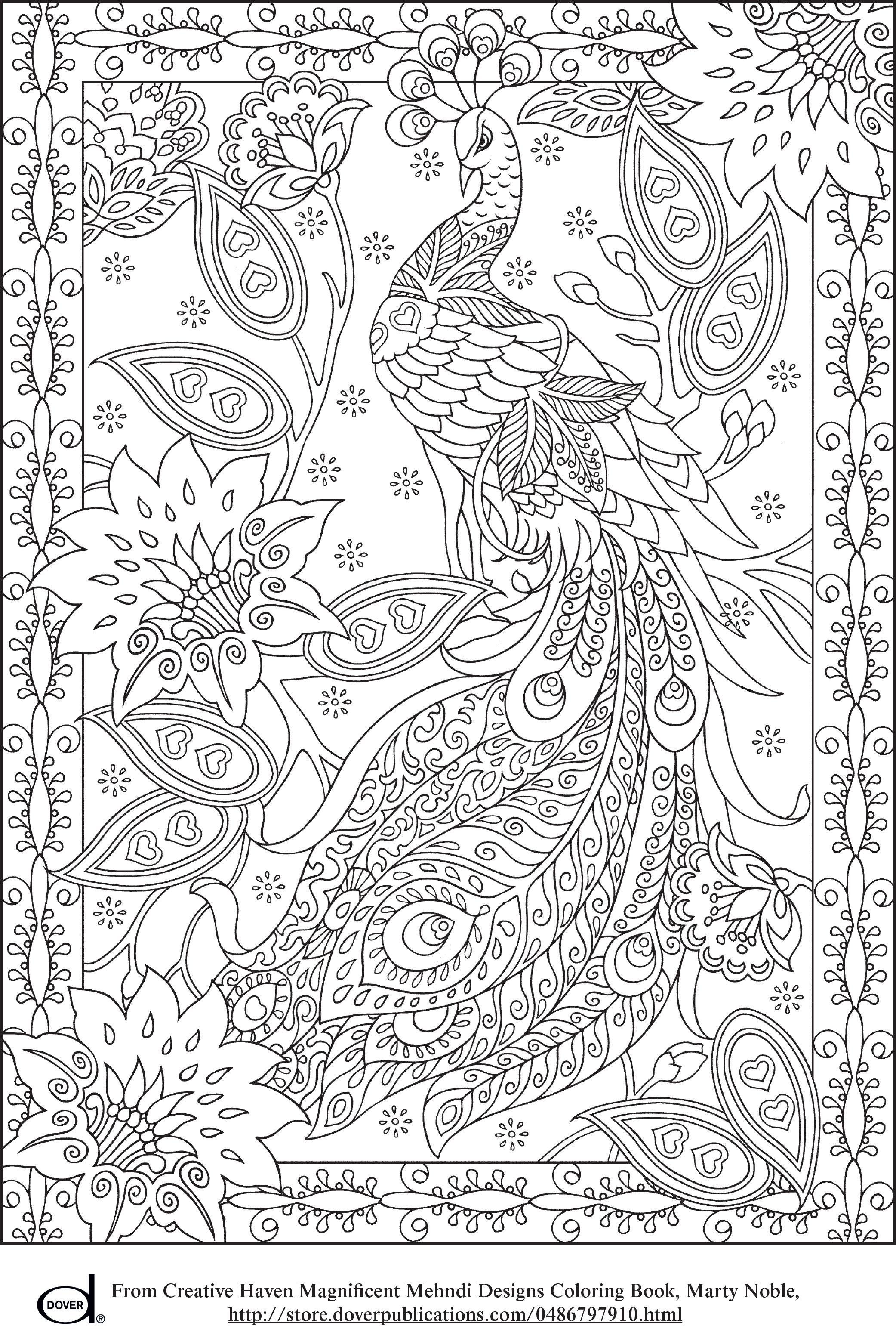 Intricate drawing creative. Peacock feather coloring pages