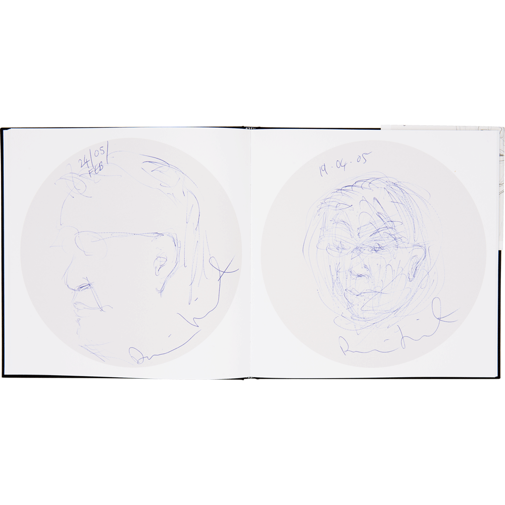 Fonts drawing sketch book. Damien hirst portraits of