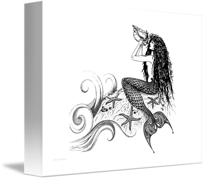 Artists drawing pen. Mermaid blowing a conch