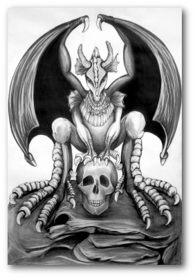 Artists drawing work. Pencil devil within the