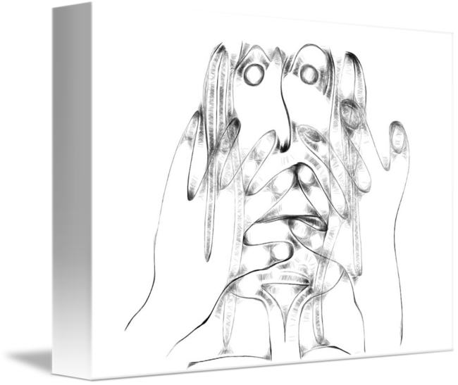 Artsy drawing hand. Anxiety by agnostic bits