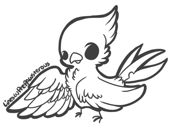 Arts drawing bird. Free use lineart by