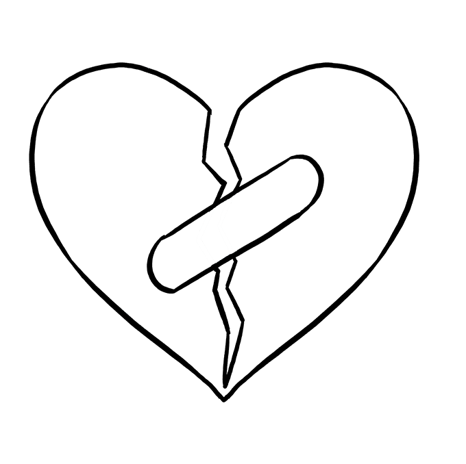 Cracked drawing heart. How to draw a