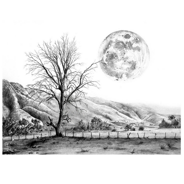 Arts drawing landscape. Of the beautiful pencil