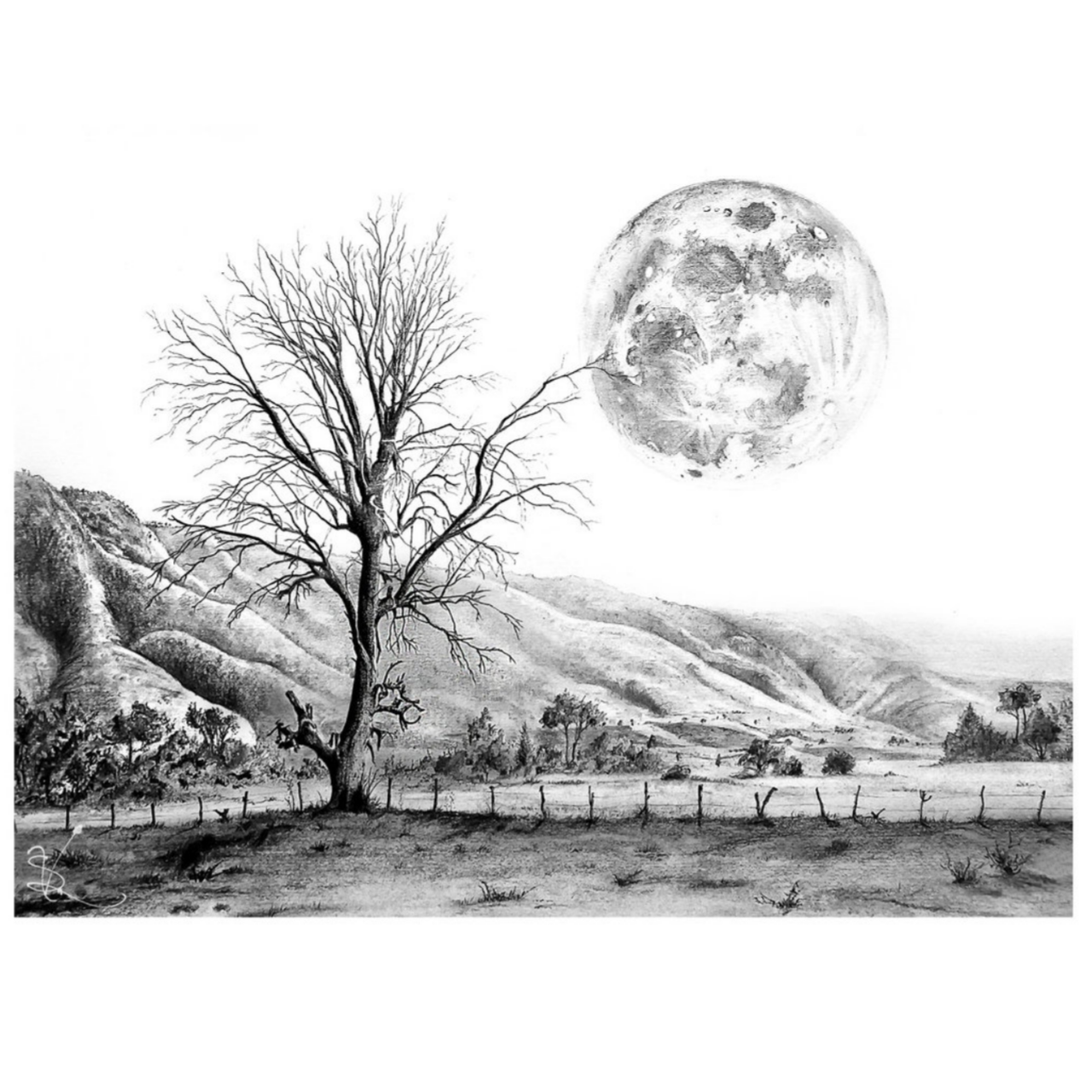 Us drawing pencil. Landscape of the beautiful