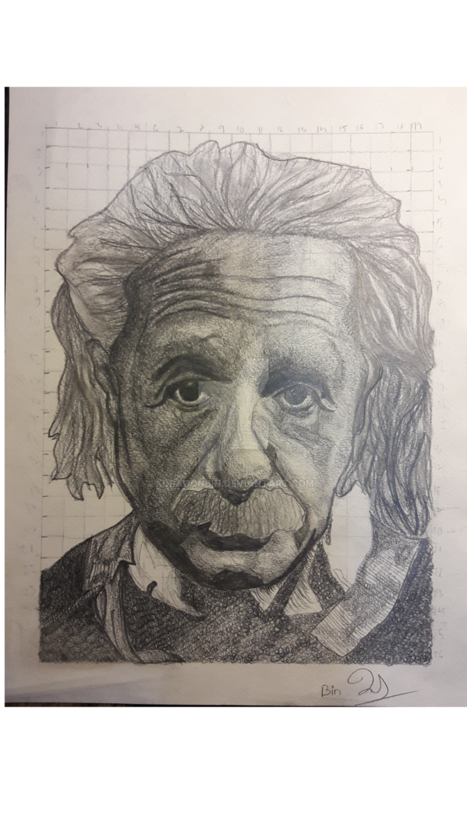 Arts drawing portrait. Albert einstein day by