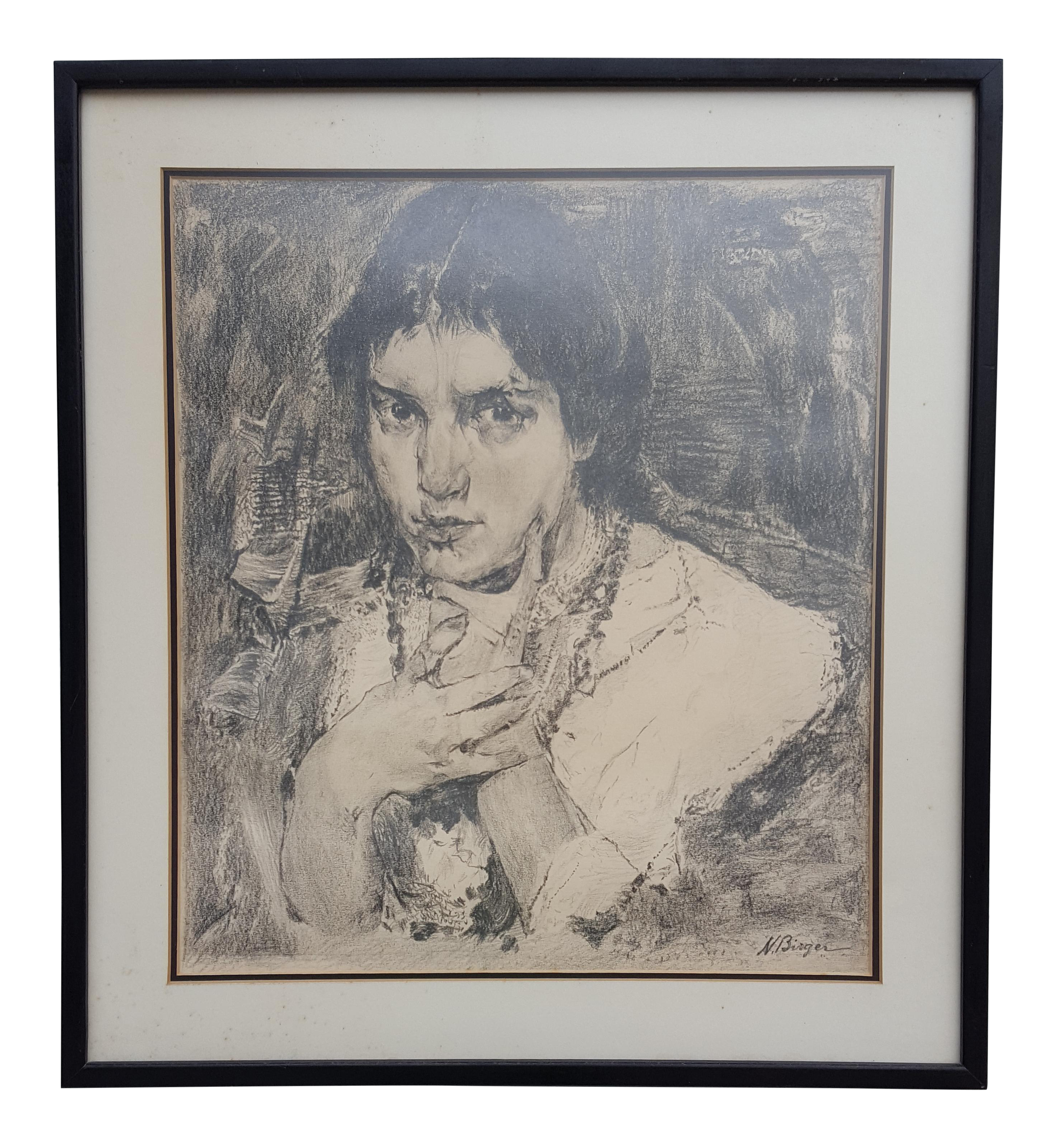 Arts drawing portrait. Vintage female charcoal by