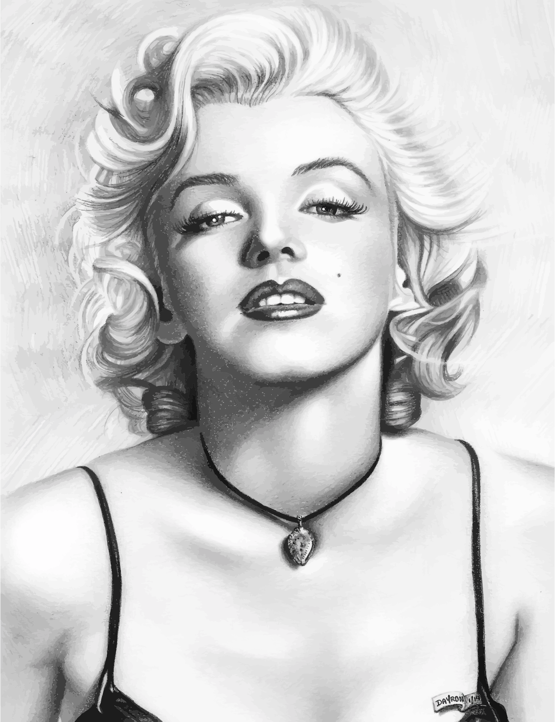 Portraits drawing half. Realistic of marilyn monroe