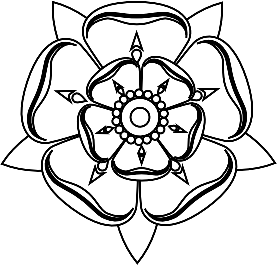 Intricate drawing flower. Yorkshire rose black white