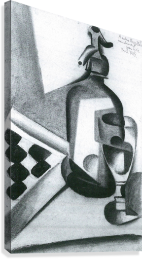 Flask drawing still life with. Siphon by juan gris