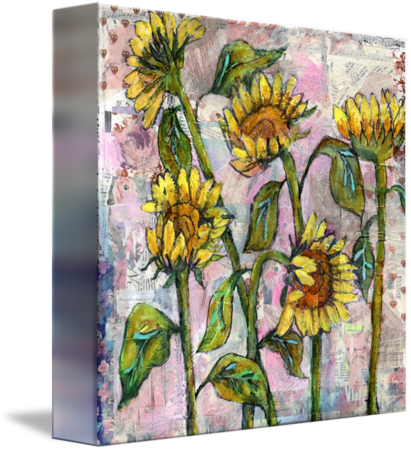 Drawing sunset abstract. Sunflower painting pink collage