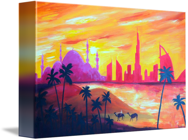 Drawing sunset abstract. Abu dhabi landscape painting