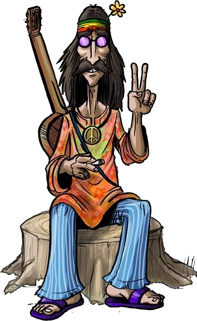 Artsy drawing hippie. Peace and love render