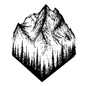 Artsy drawing landscape. Mountain by s y