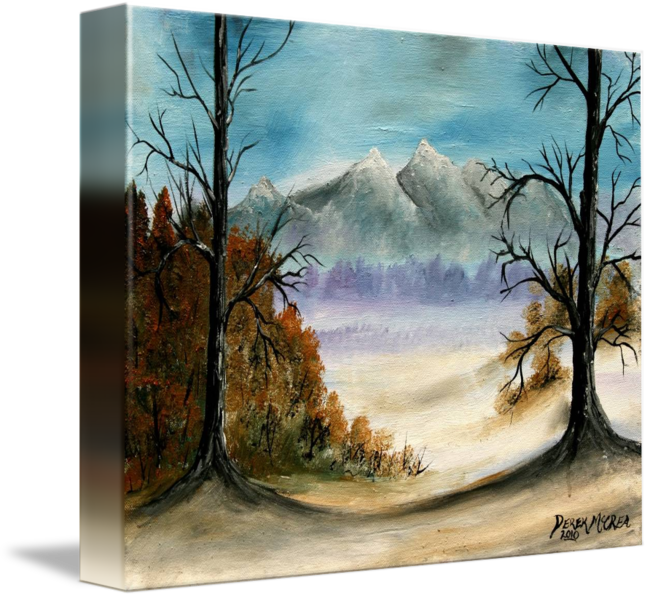 Artsy drawing landscape. Rocky mountains oil painting
