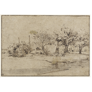 Landscaping drawing bridge. Rembrandt van rijn landscape
