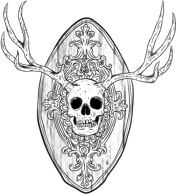 Artsy drawing skull. The human deer by