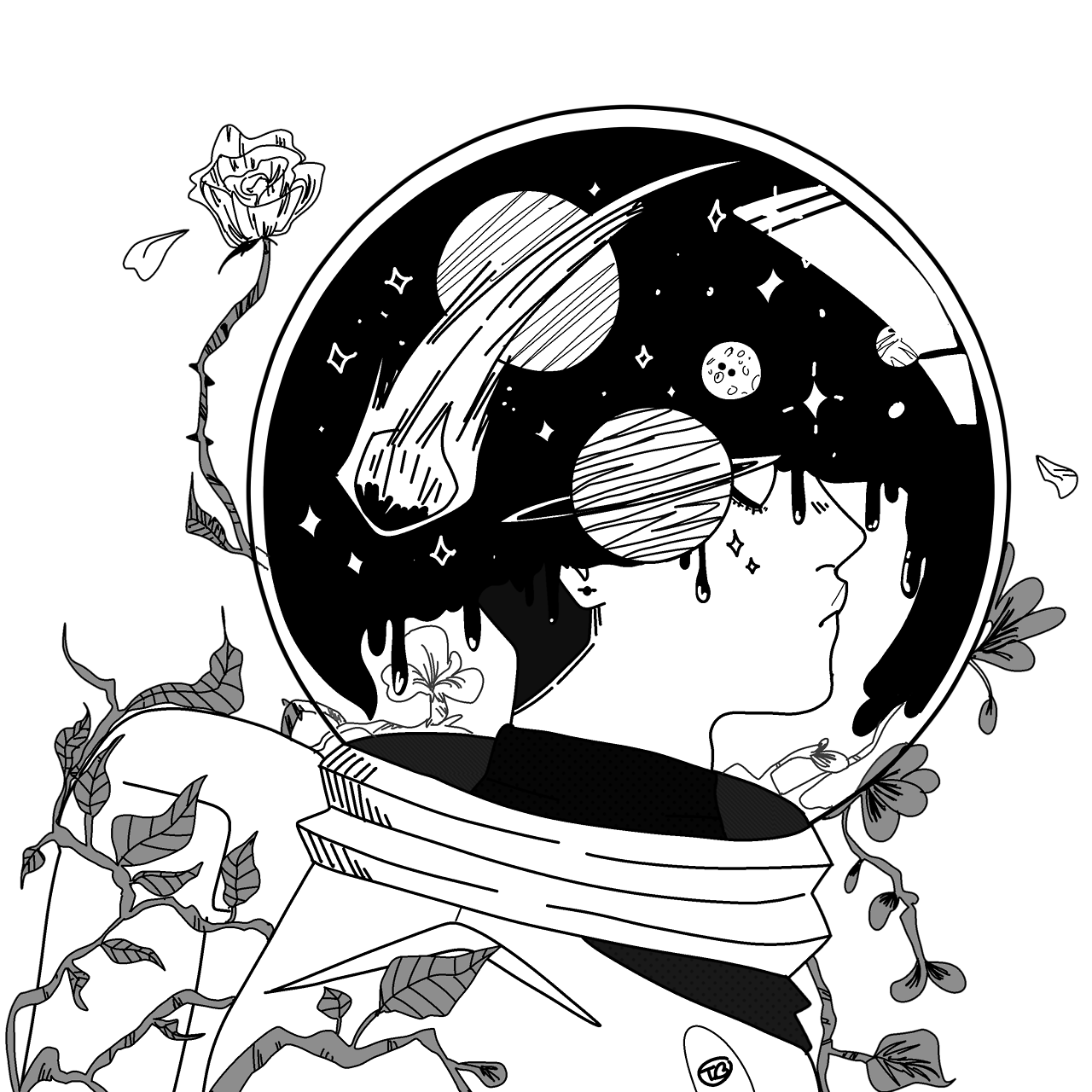 Toastybumblebee space inside on. Thoughts drawing ink graphic stock