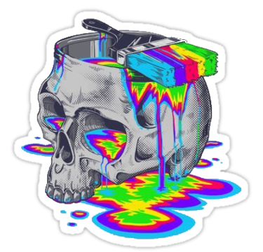 Artsy drawing trippy. Colorful skull sticker by