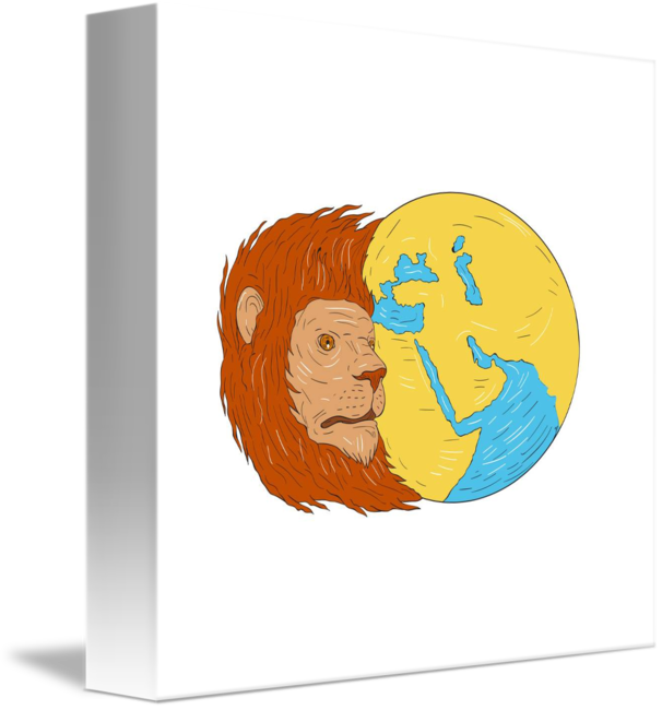 Asia drawing middle east. Lion head map globe