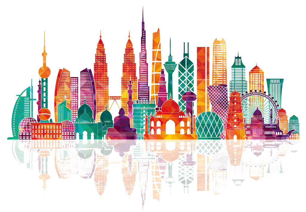 Asia vector skyline. Royalty free illustration city