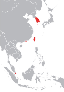 Asia vector background. Four asian tigers wikipedia