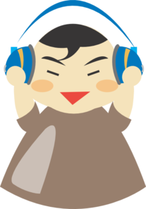Asian boy with headphones. Asia vector brown banner freeuse