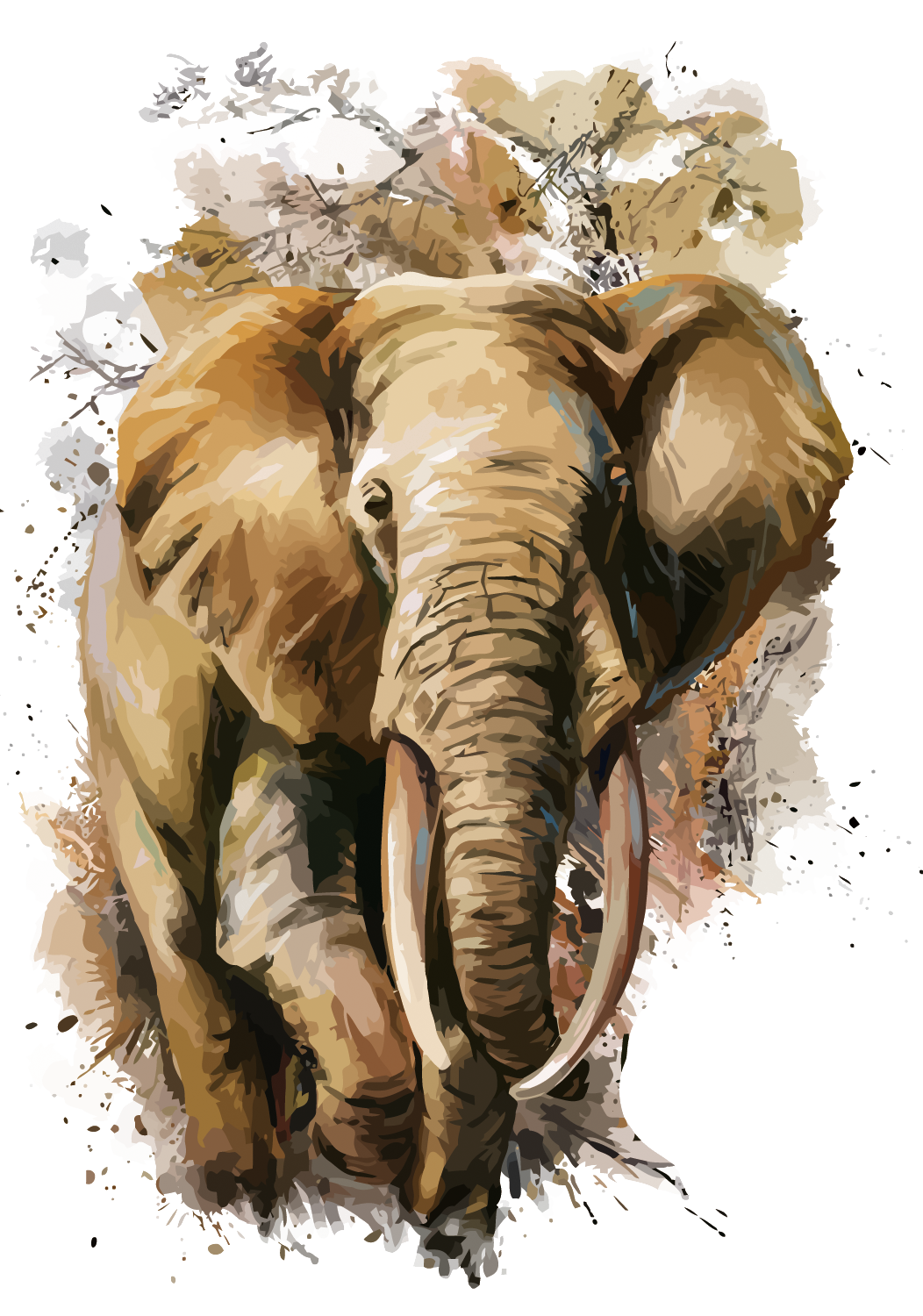 Asia vector brown. African elephant t shirt
