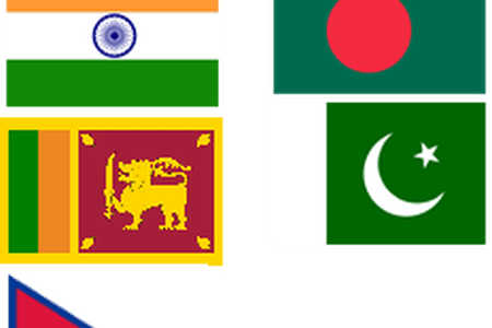 Asia vector collage. All country flag path