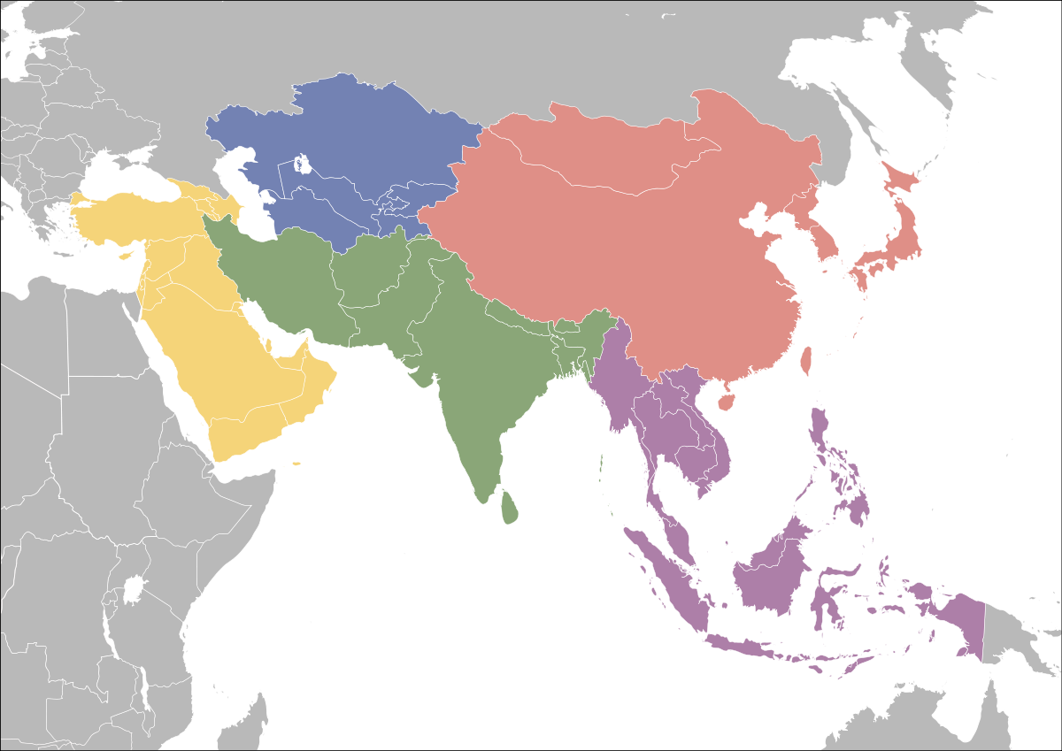 Asia vector south map. United nations geoscheme for