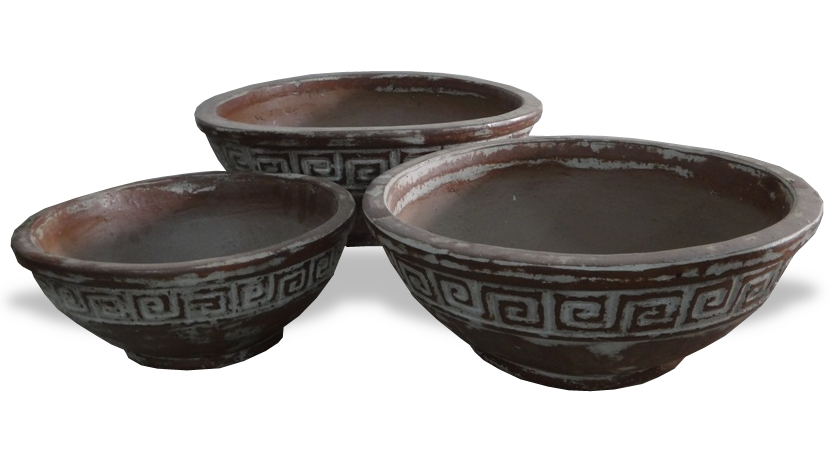Asian bowl png. Rustic with graphic pattern