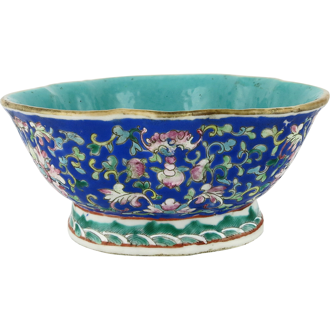 Asian bowl png. Chinese porcelain polychrome floral