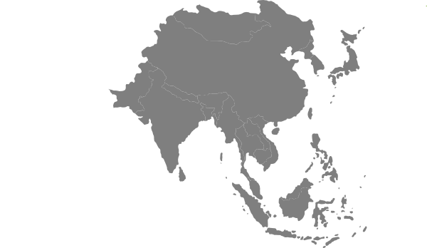Asia vector south map. Asian continent grey clip