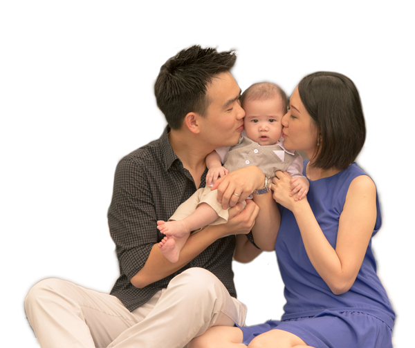 Asian mom png. New family with baby