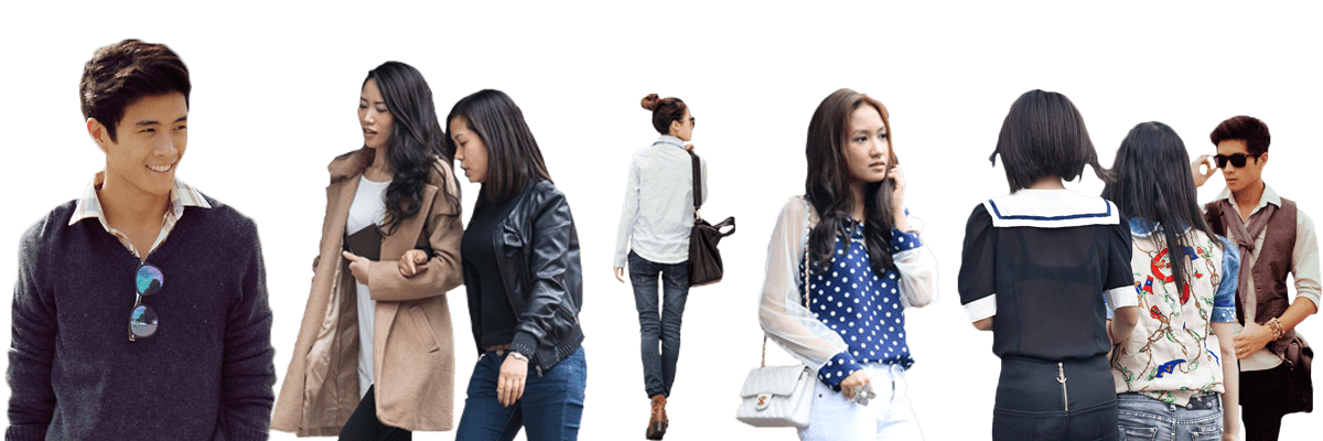 Asian people png. Packs cut out pack