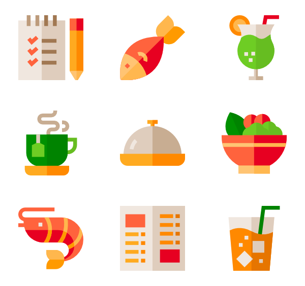 Dinner vector top view. Asian food icons free