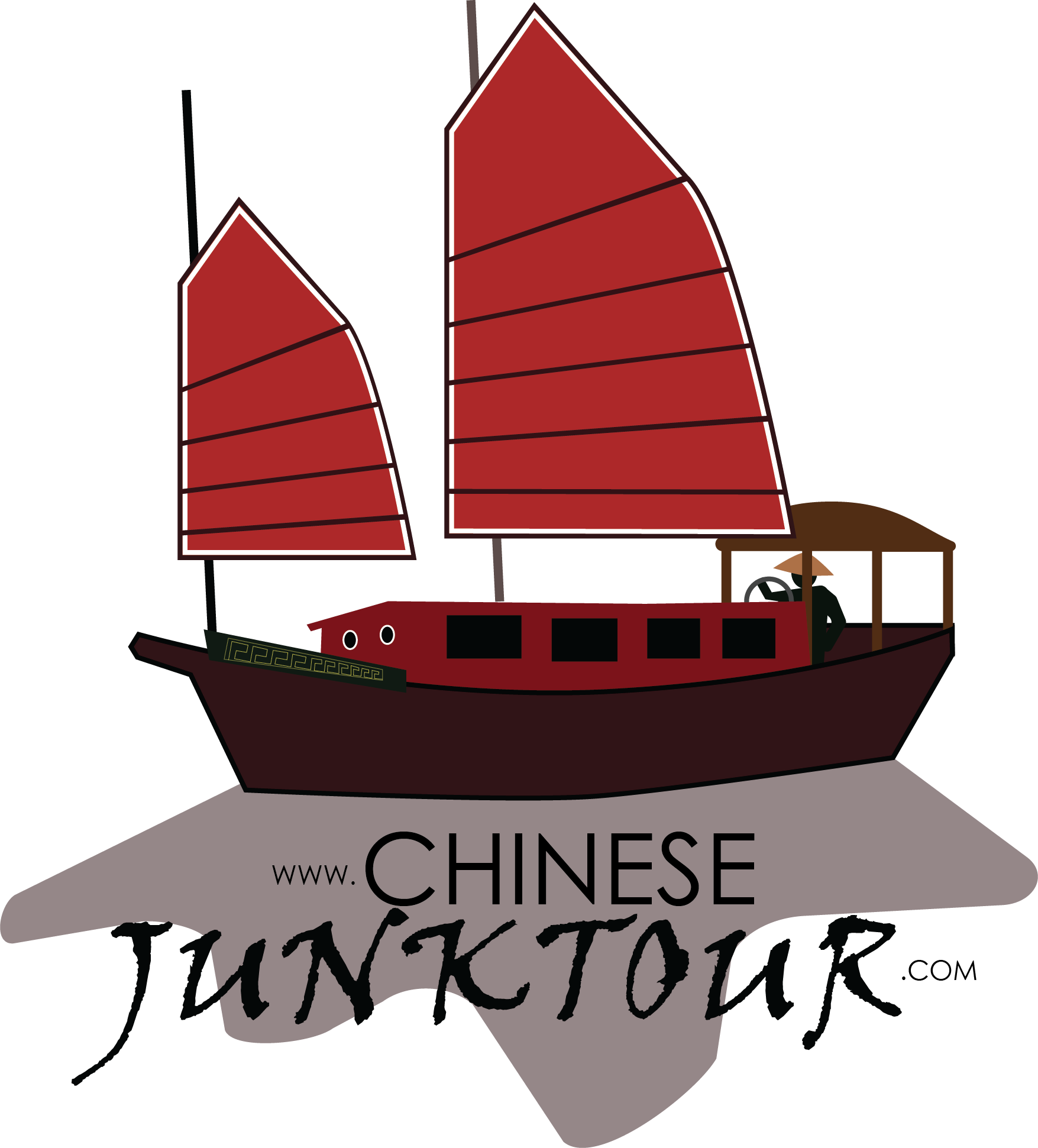 Asian vector boat. Collection of chinese