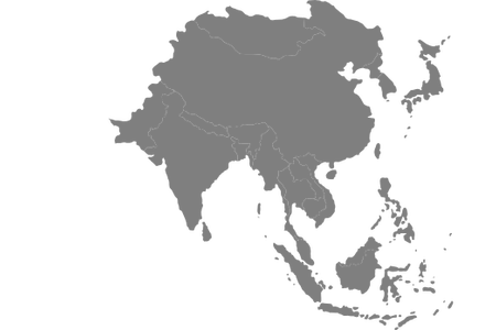 Asia vector black and white. Southeast map clipart full