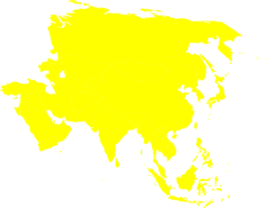 Asian vector simple. Continent yellow clip art