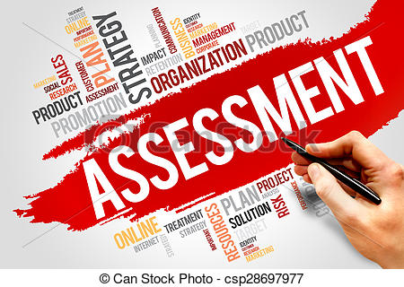 Word cloud business concept. Assessment clipart banner royalty free stock