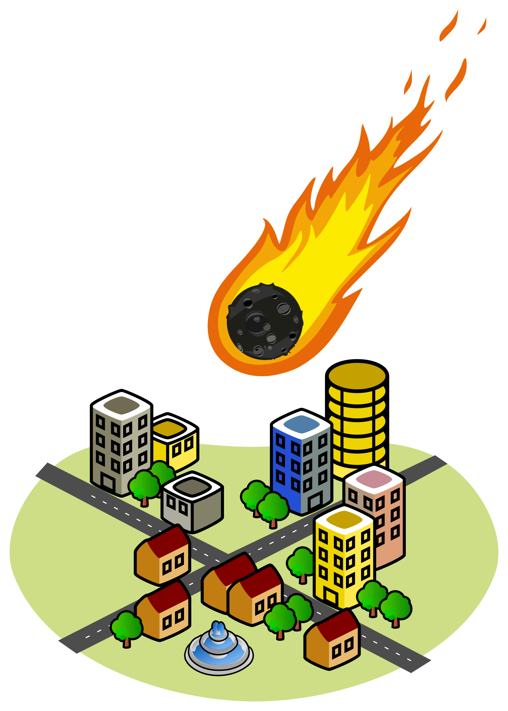 Asteroid clipart fire. And the city big
