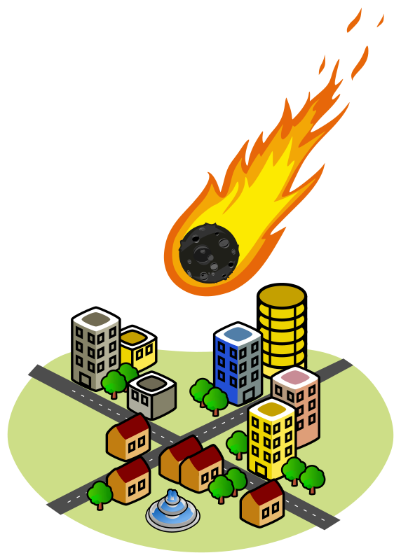 Fireball clipart astroid. Asteroid and the city
