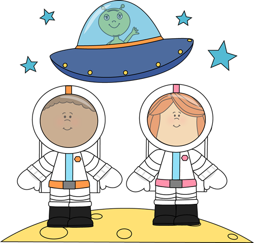 Alien clipart standing. Astronauts and ufo on