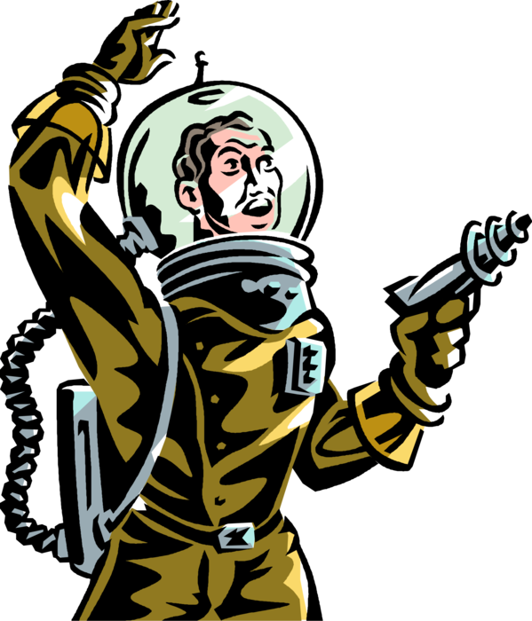Astronaut with gun png. Science fiction ray weapon