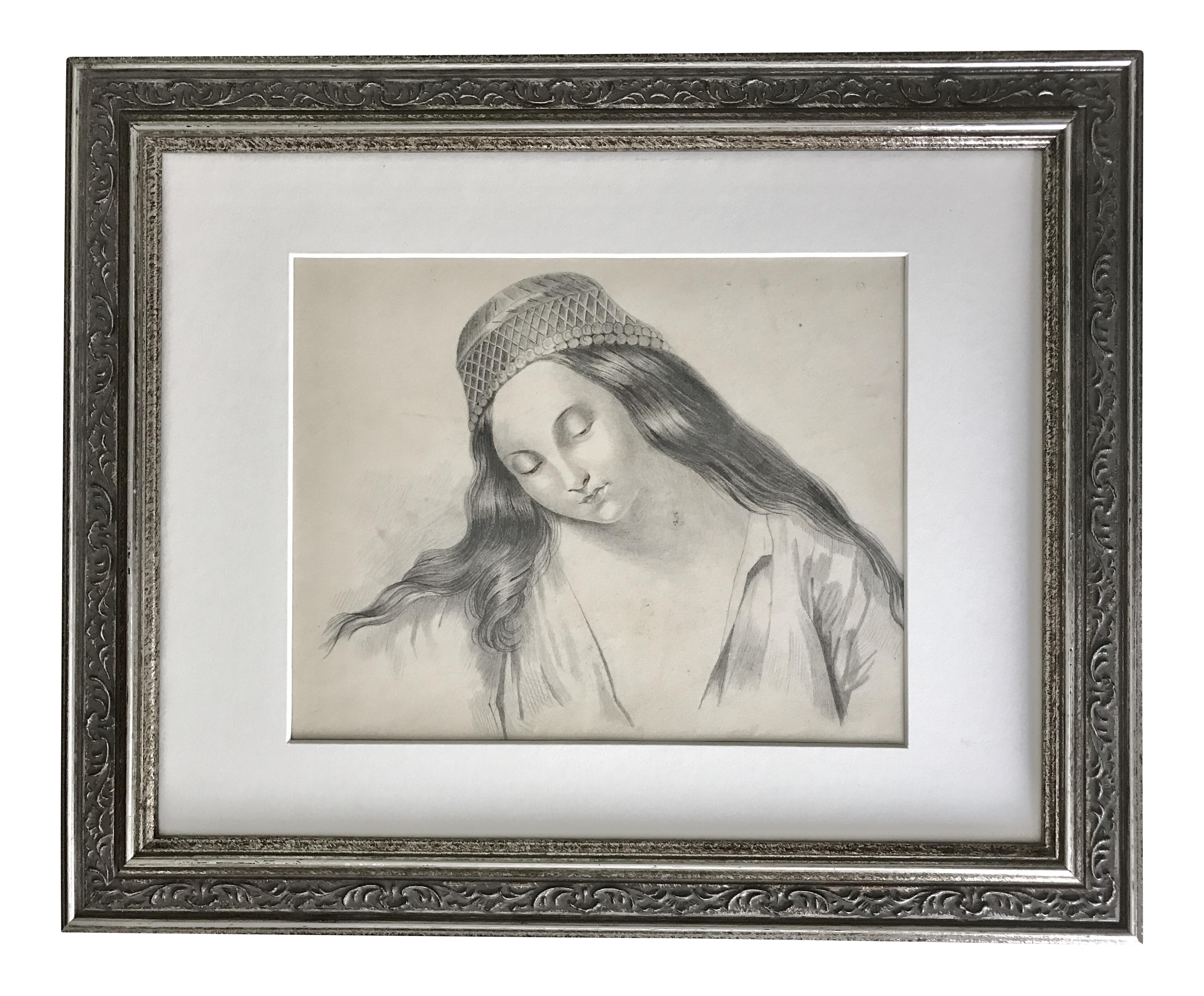 Atelier drawing 19th century portrait. Antique french master of