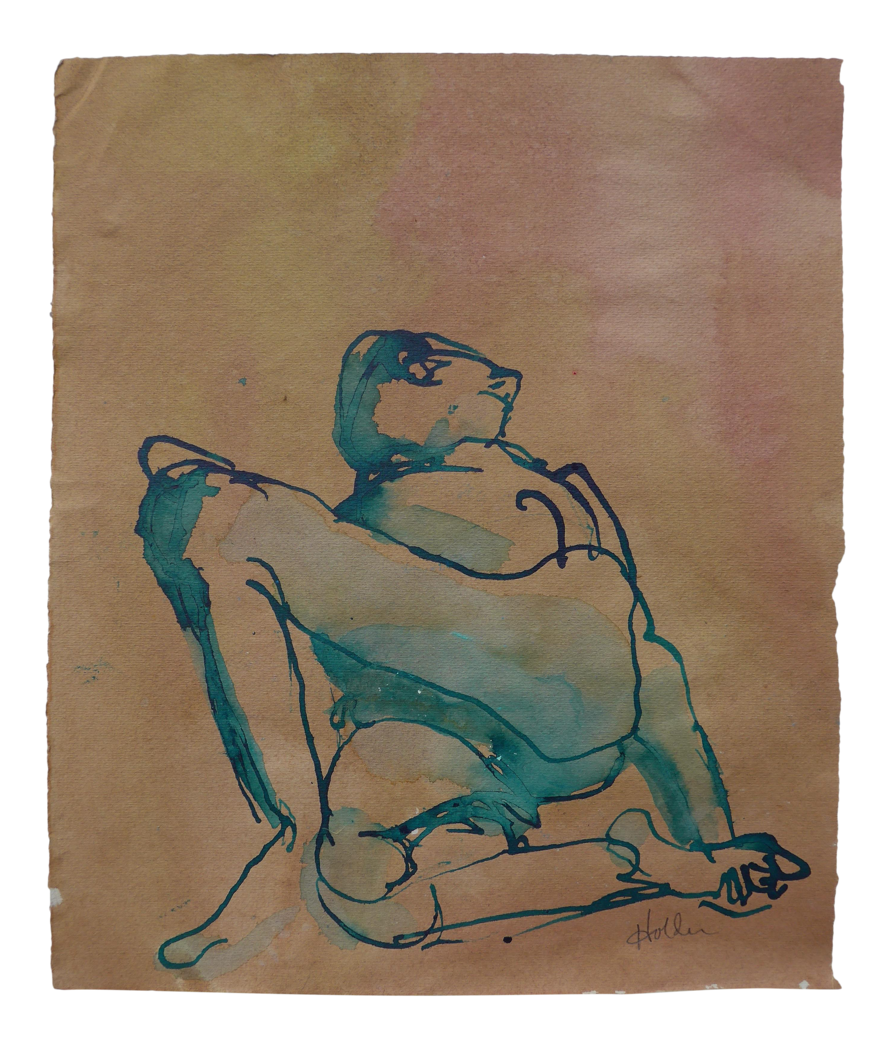 Pastels drawing realistic. Reclining male ink charcoal