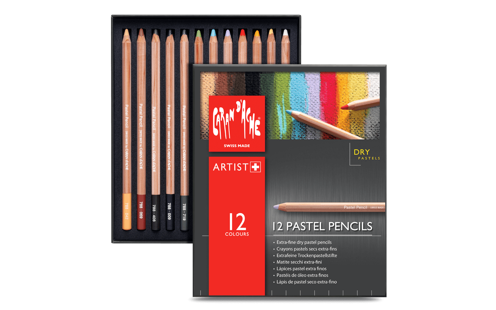 Atelier drawing pencil. Dry pastel pencils assortment