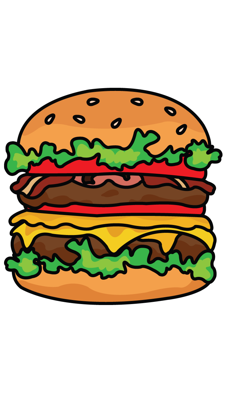 Atelier drawing step. How to draw burger